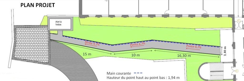 Schéma de rampe conforme de l'IUT à Tourcoing avec pourcentage de pente inférieur à 5%